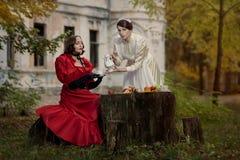 Retro ragazze di picnic due. Fotografia Stock
