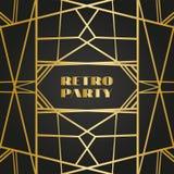 Retro- Rahmen der alten Weinlese mit Linien Art von zwanziger Jahren Königlicher goldener erstklassiger Dekor lizenzfreie abbildung