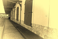 Retro Railroad Warehouse. Retro railroad station platform in Tel Aviv. Israel historic warehouse on the line from Tel Aviv to Jerusalem. Vintage style toned stock photo