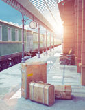 Retro railway station Royalty Free Stock Photos