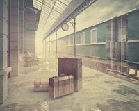 The retro railway  train station Stock Photos