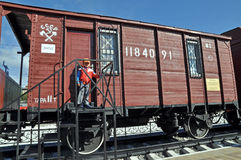Retro Railway wagon examples of the Second World War . USSR. Stock Image