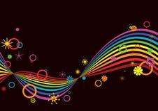 Retro rainbow background. Retro rainbow on black background Royalty Free Stock Images