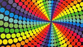 Retro Rainbow Colored Dots Rotating Animation Background
