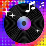 Retro rainbow music icon. Music player element for album title Stock Photography
