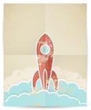 Retro raket för vektor med grungetextur Royaltyfria Bilder