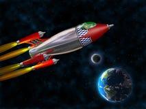 Retro raket in ruimte Royalty-vrije Stock Afbeeldingen