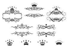Retro ramuppsättning med kungliga kronor vektor illustrationer