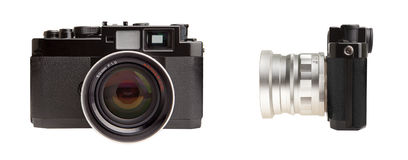 Retro rangefinder camera. Frontal and side view isolated on white Royalty Free Stock Image