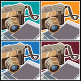 Retro rangefinder camera. Stylized vector illustration on the theme of photography. Rangefinder camera and photos Stock Images