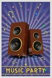 Retro rappresentazione di progettazione 3d del manifesto del partito di musica illustrazione di stock