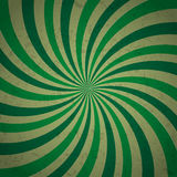 Retro ray sunbrust background in green color with grunge Stock Images