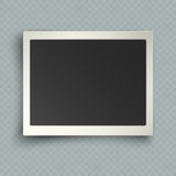 Retro realistic horizontal blank instant photo frame with shadow effects white plastic border on transparent background. Template photo design, vector stock illustration