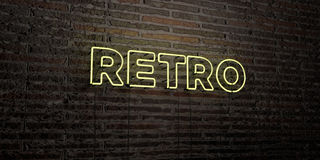RETRO -Realistic Neon Sign on Brick Wall background - 3D rendered royalty free stock image. Can be used for online banner ads and direct mailers Royalty Free Stock Photography