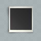 Retro realistic vertical blank instant photo frame with shadow effects white plastic border on transparent background. Template photo design, vector royalty free illustration