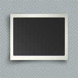 Retro- realistischer horizontaler leerer sofortiger Fotorahmen mit Schatten Stockfotos