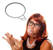 Retro Receptionist with Blank Thought Bubble Stock Photography