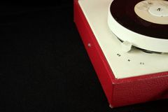 Retro record player. Record player on black royalty free stock images