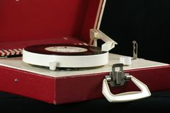 Retro record player. Record player on black royalty free stock photo