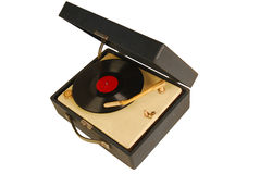 Retro record player. An old record player with vinyl records Royalty Free Stock Image