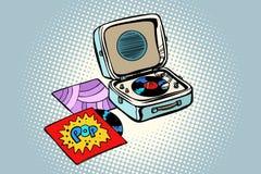 Retro record player, gramophone. Pop vinyl. Comic cartoon pop art retro illustration vector drawing Royalty Free Stock Images