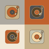 Retro record player icons Stock Image