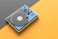 Retro record - vinyl player isolated on colored background.3D il Stock Photos