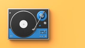 Retro record - vinyl player isolated on colored background.3D il. Lustration Royalty Free Stock Images