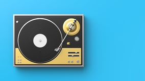 Retro record - vinyl player isolated on colored background.3D il. Lustration Stock Image