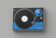 Retro record - vinyl player isolated on gray background.3D illus. Tration Royalty Free Stock Image
