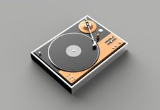 Retro record - vinyl player isolated on gray background.3D illus. Tration Stock Photography