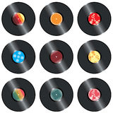 Retro records set. Retro vinyl records set, layered and grouped illustration for easy editing Stock Photos