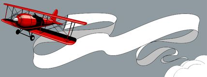 Retro red airplane with a big white ribbon banner in the sky royalty free illustration
