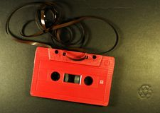 Retro red cassette tape Stock Images