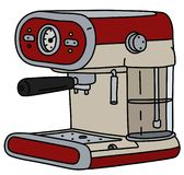 The retro red electric espresso maker. The vectorized hand drawing of a retro red and cream electric espresso maker vector illustration