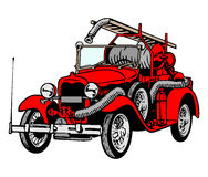 Retro Red Firetruck Stock Photo