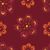 Retro Red Flowers Pattern Royalty Free Stock Photography