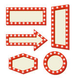 Retro Red frame. Vintage Signs. Retro sign with lights. Red frame with neon lights. Simple and empty retro frame. Template vintage road signs. Pointer arrow Royalty Free Stock Image