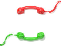 Retro red and green phone receivers lie opposite each other. 3D Stock Photo