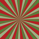 Retro red and green sunburst background in Christmas colors with radial striped pattern royalty free illustration