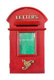 Retro Red Letterbox. Isolated on white background with clipping path and copyspace on green Royalty Free Stock Image