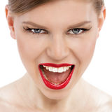 Retro red lips Royalty Free Stock Images