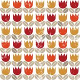 Retro red orange yellow tulips on grunge white sea. Retro red orange yellow tulips and brown beige leaves on white grunge background seamless pattern Stock Photography
