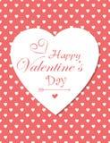 Retro red polka hearts valentines day card Stock Photos