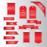 Retro red ribbons and labels. Set of vector flat ribbons Royalty Free Stock Photography