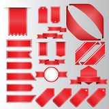 Retro red ribbons and labels. Set of vector flat ribbons Stock Images
