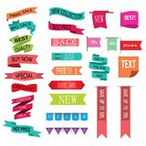Retro red ribbons and labels. Set of vector flat ribbons Royalty Free Stock Images