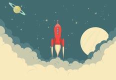 Retro Red Rocket Spaceship, Landing Page, Work in progress Stock Photo