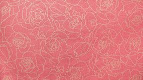 Retro Red Rose Floral Pattern Fabric Background Stock Photos