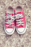 Retro red sneakers Royalty Free Stock Images